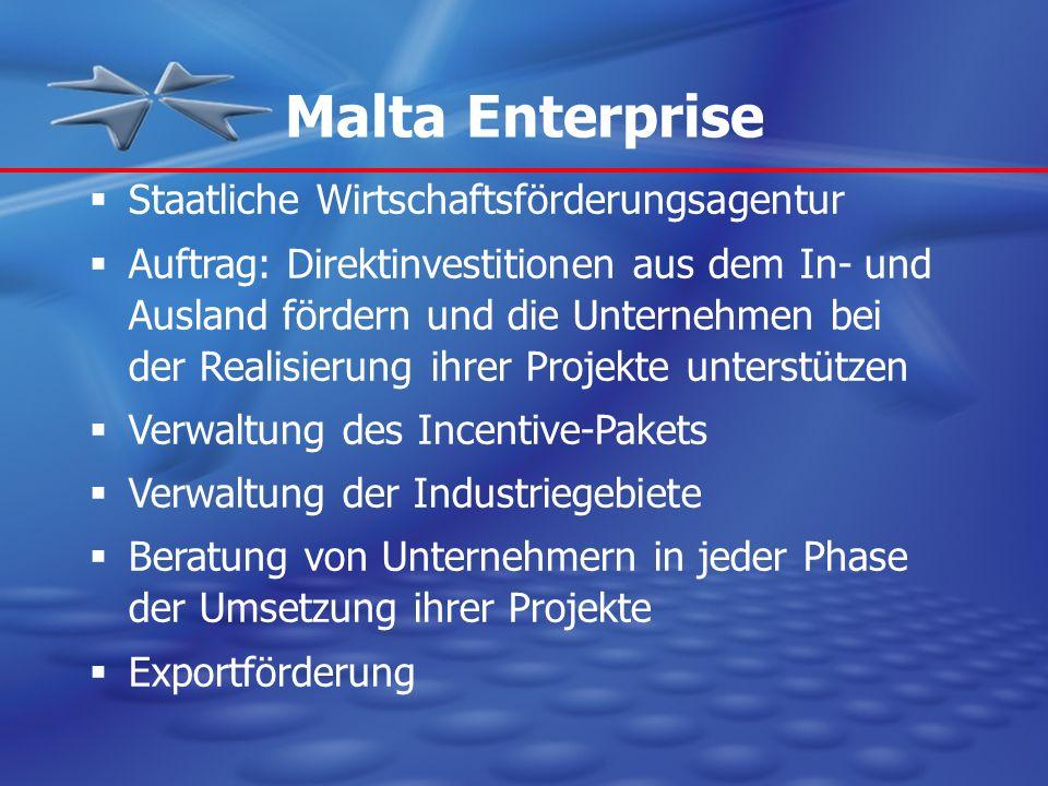 Malta Enterprise Staatliche Wirtschaftsförderungsagentur Auftrag: Direktinvestitionen aus dem In- und Ausland fördern und die Unternehmen bei der Real