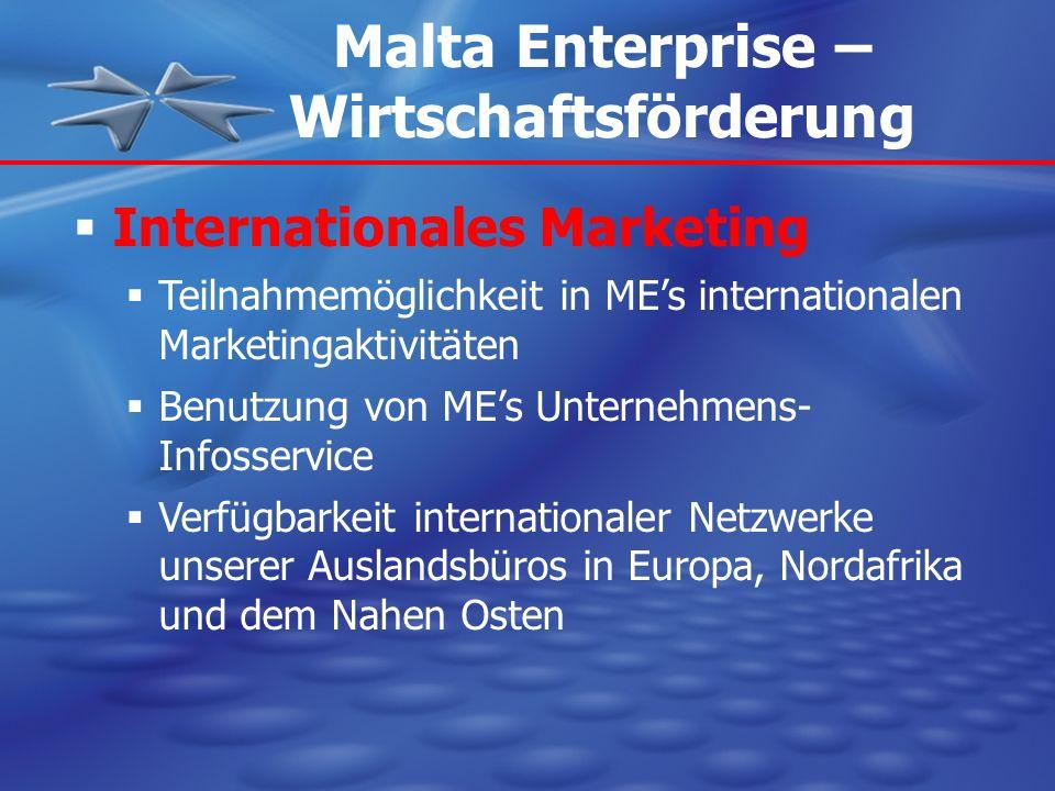 Internationales Marketing Teilnahmemöglichkeit in MEs internationalen Marketingaktivitäten Benutzung von MEs Unternehmens- Infosservice Verfügbarkeit