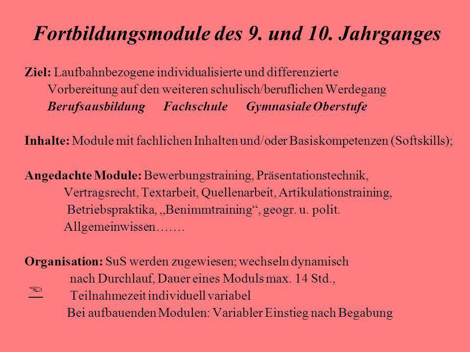 Fortbildungsmodule des 9. und 10. Jahrganges Ziel: Laufbahnbezogene individualisierte und differenzierte Vorbereitung auf den weiteren schulisch/beruf