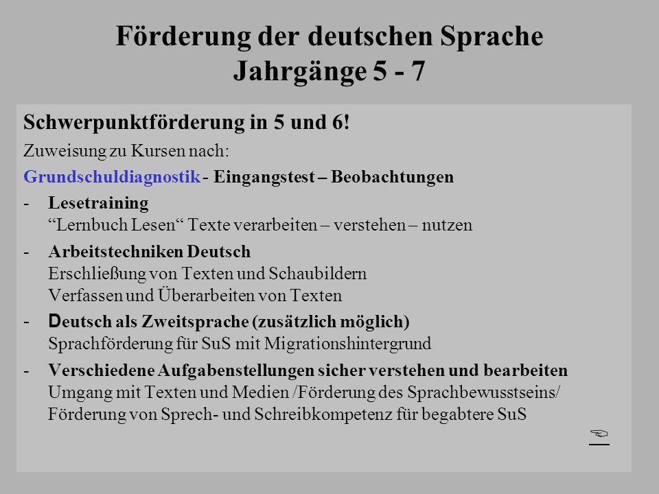 Förderung der deutschen Sprache Jahrgänge 5 - 7 Schwerpunktförderung in 5 und 6! Zuweisung zu Kursen nach: Grundschuldiagnostik - Eingangstest – Beoba