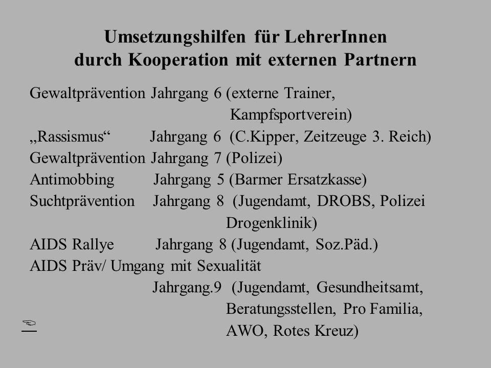Umsetzungshilfen für LehrerInnen durch Kooperation mit externen Partnern Gewaltprävention Jahrgang 6 (externe Trainer, Kampfsportverein) Rassismus Jah