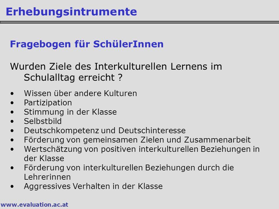 www.evaluation.ac.at Erhebungsintrumente Fragebogen für SchülerInnen Wurden Ziele des Interkulturellen Lernens im Schulalltag erreicht .