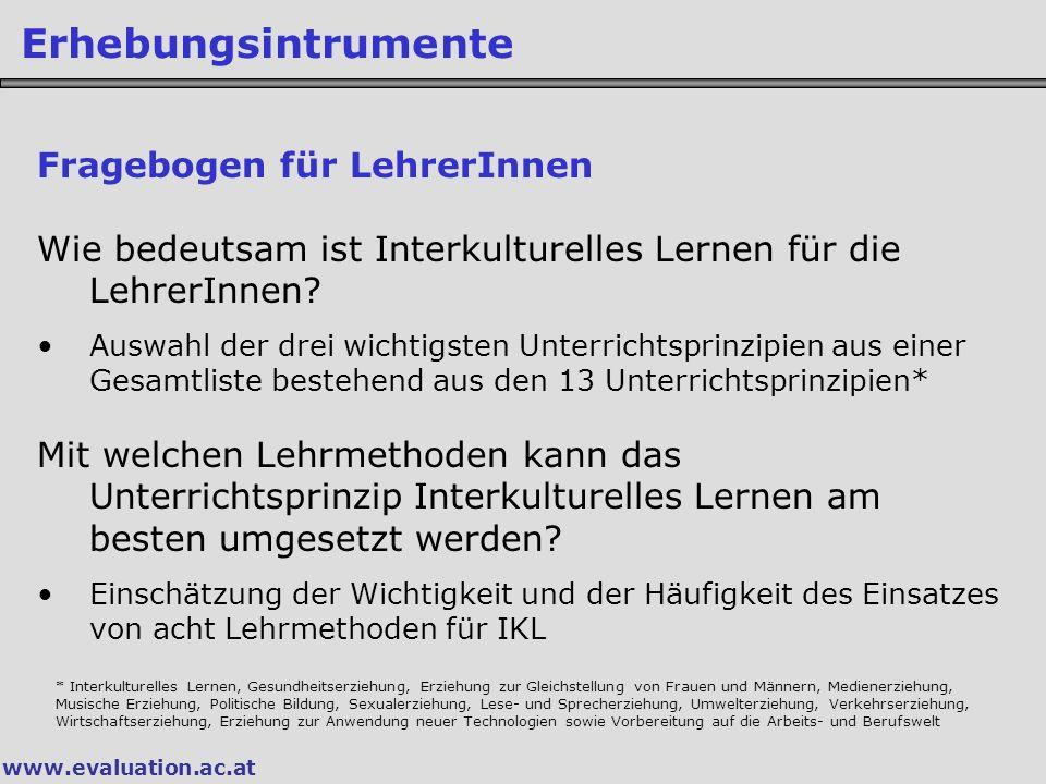 www.evaluation.ac.at Erhebungsintrumente Fragebogen für LehrerInnen Wie bedeutsam ist Interkulturelles Lernen für die LehrerInnen.