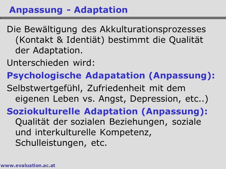 www.evaluation.ac.at Die Bewältigung des Akkulturationsprozesses (Kontakt & Identiät) bestimmt die Qualität der Adaptation.
