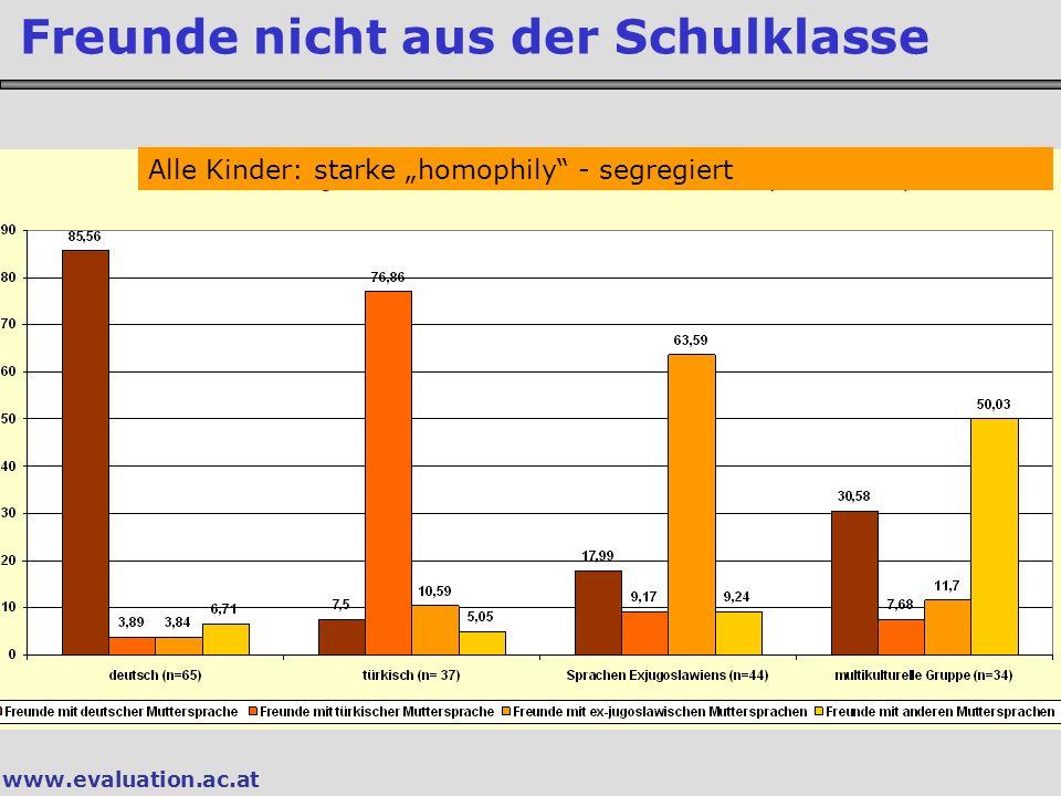 www.evaluation.ac.at Freunde nicht aus der Schulklasse Alle Kinder: starke homophily - segregiert
