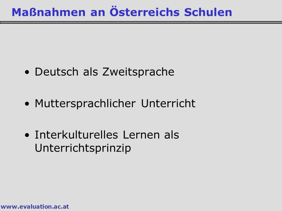 Deutsch als Zweitsprache Muttersprachlicher Unterricht Interkulturelles Lernen als Unterrichtsprinzip Maßnahmen an Österreichs Schulen