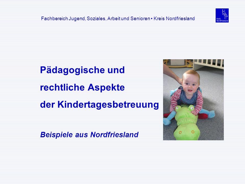 Pädagogische und rechtliche Aspekte der Kindertagesbetreuung Beispiele aus Nordfriesland Fachbereich Jugend, Soziales, Arbeit und Senioren Kreis Nordf