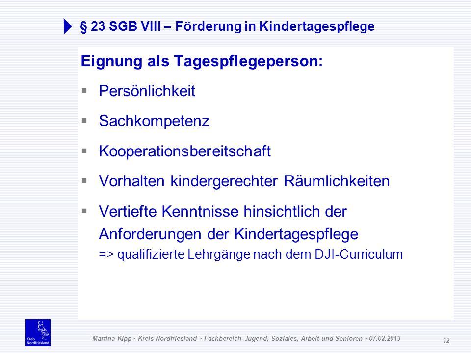 Martina Kipp Kreis Nordfriesland Fachbereich Jugend, Soziales, Arbeit und Senioren 07.02.2013 12 § 23 SGB VIII – Förderung in Kindertagespflege Eignun