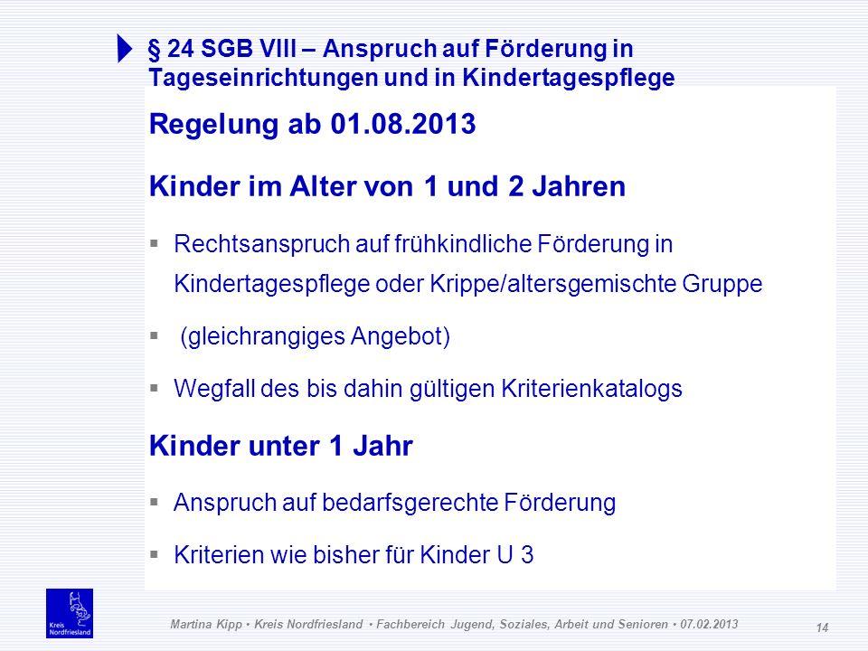 Martina Kipp Kreis Nordfriesland Fachbereich Jugend, Soziales, Arbeit und Senioren 07.02.2013 14 § 24 SGB VIII – Anspruch auf Förderung in Tageseinric