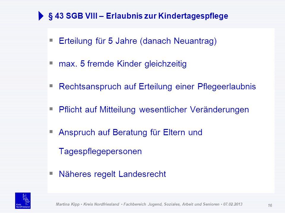 Martina Kipp Kreis Nordfriesland Fachbereich Jugend, Soziales, Arbeit und Senioren 07.02.2013 16 § 43 SGB VIII – Erlaubnis zur Kindertagespflege Ertei