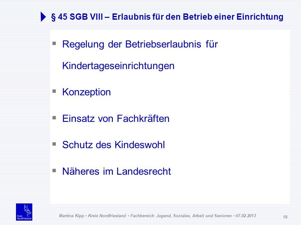 Martina Kipp Kreis Nordfriesland Fachbereich Jugend, Soziales, Arbeit und Senioren 07.02.2013 19 § 45 SGB VIII – Erlaubnis für den Betrieb einer Einri