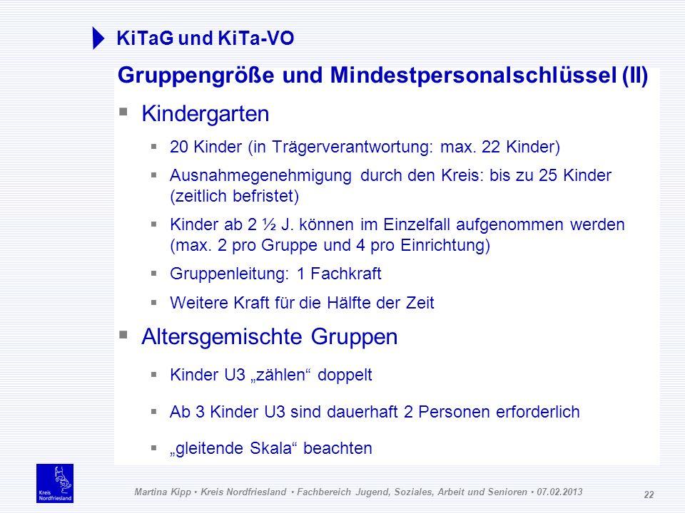 Martina Kipp Kreis Nordfriesland Fachbereich Jugend, Soziales, Arbeit und Senioren 07.02.2013 22 KiTaG und KiTa-VO Gruppengröße und Mindestpersonalsch
