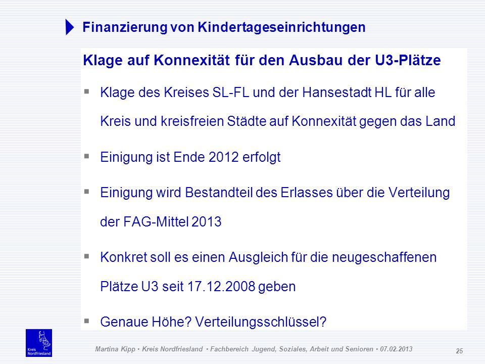 Martina Kipp Kreis Nordfriesland Fachbereich Jugend, Soziales, Arbeit und Senioren 07.02.2013 25 Finanzierung von Kindertageseinrichtungen Klage auf K
