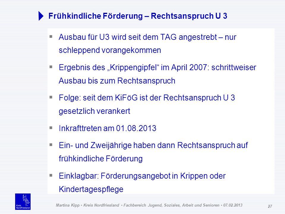 Martina Kipp Kreis Nordfriesland Fachbereich Jugend, Soziales, Arbeit und Senioren 07.02.2013 27 Frühkindliche Förderung – Rechtsanspruch U 3 Ausbau f