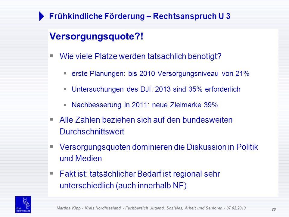 Martina Kipp Kreis Nordfriesland Fachbereich Jugend, Soziales, Arbeit und Senioren 07.02.2013 28 Frühkindliche Förderung – Rechtsanspruch U 3 Versorgu