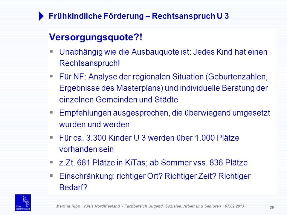 Martina Kipp Kreis Nordfriesland Fachbereich Jugend, Soziales, Arbeit und Senioren 07.02.2013 29 Frühkindliche Förderung – Rechtsanspruch U 3 Versorgu