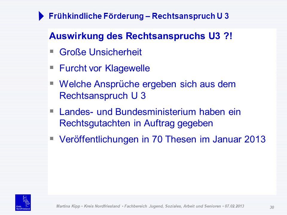 Martina Kipp Kreis Nordfriesland Fachbereich Jugend, Soziales, Arbeit und Senioren 07.02.2013 30 Frühkindliche Förderung – Rechtsanspruch U 3 Auswirku