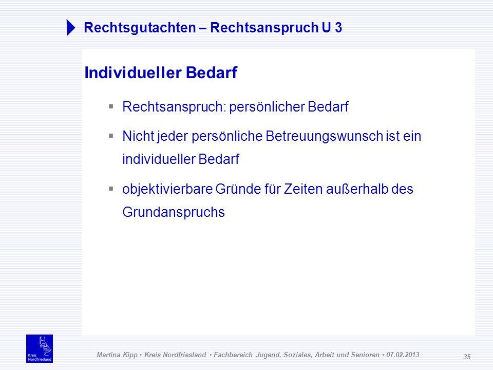 Martina Kipp Kreis Nordfriesland Fachbereich Jugend, Soziales, Arbeit und Senioren 07.02.2013 35 Rechtsgutachten – Rechtsanspruch U 3 Individueller Be
