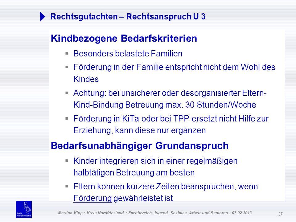 Martina Kipp Kreis Nordfriesland Fachbereich Jugend, Soziales, Arbeit und Senioren 07.02.2013 37 Rechtsgutachten – Rechtsanspruch U 3 Kindbezogene Bed