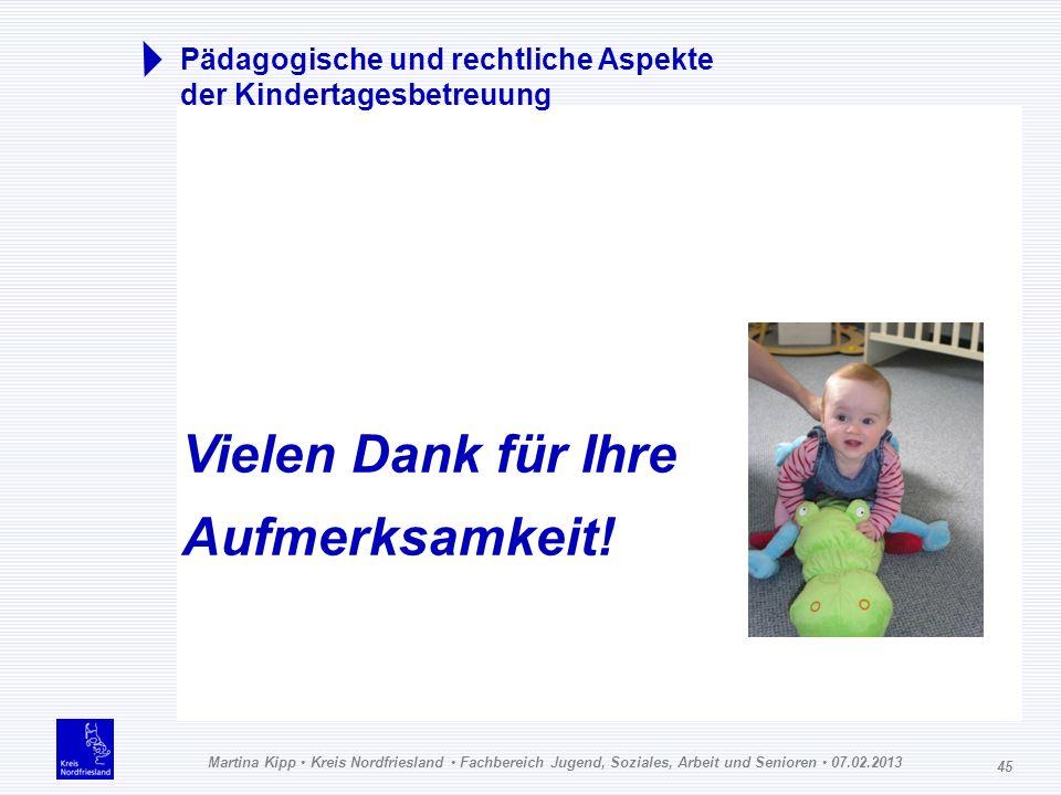 Martina Kipp Kreis Nordfriesland Fachbereich Jugend, Soziales, Arbeit und Senioren 07.02.2013 45 Pädagogische und rechtliche Aspekte der Kindertagesbe