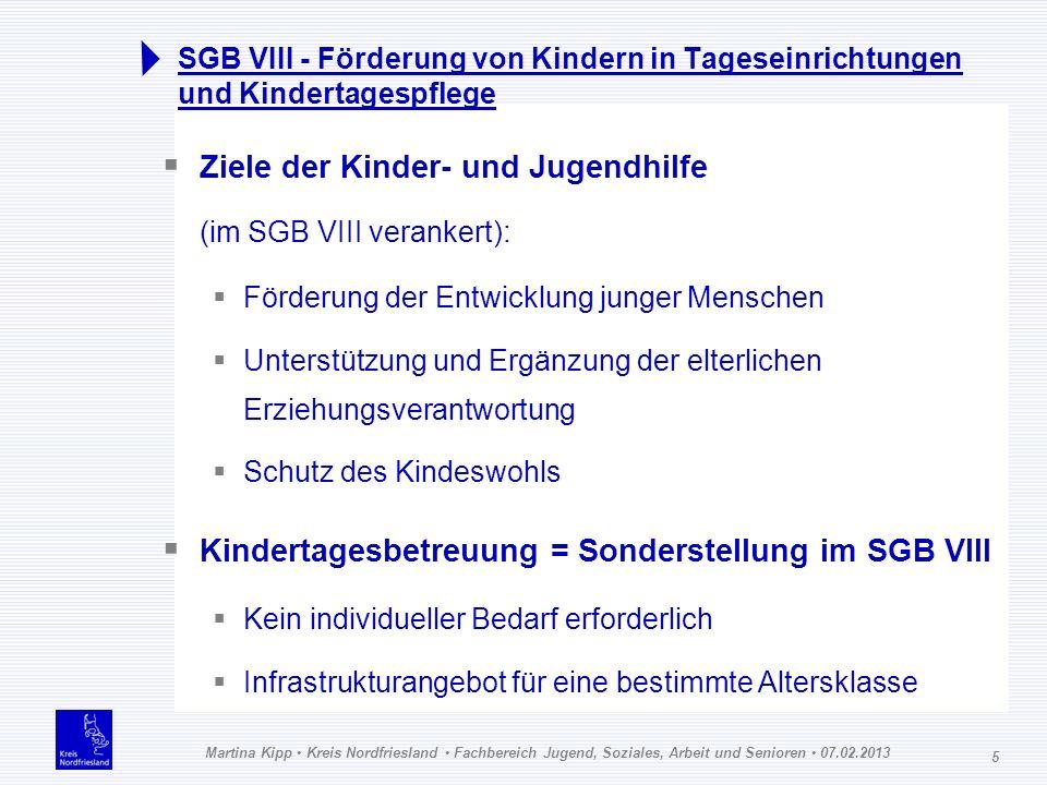 Martina Kipp Kreis Nordfriesland Fachbereich Jugend, Soziales, Arbeit und Senioren 07.02.2013 5 SGB VIII - Förderung von Kindern in Tageseinrichtungen