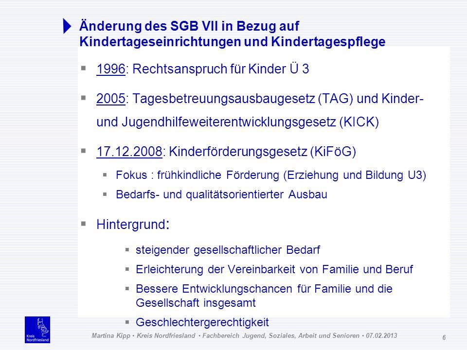 Martina Kipp Kreis Nordfriesland Fachbereich Jugend, Soziales, Arbeit und Senioren 07.02.2013 6 Änderung des SGB VII in Bezug auf Kindertageseinrichtu
