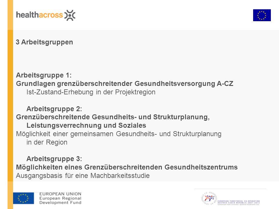 3 Arbeitsgruppen Arbeitsgruppe 1: Grundlagen grenzüberschreitender Gesundheitsversorgung A-CZ Ist-Zustand-Erhebung in der Projektregion Arbeitsgruppe