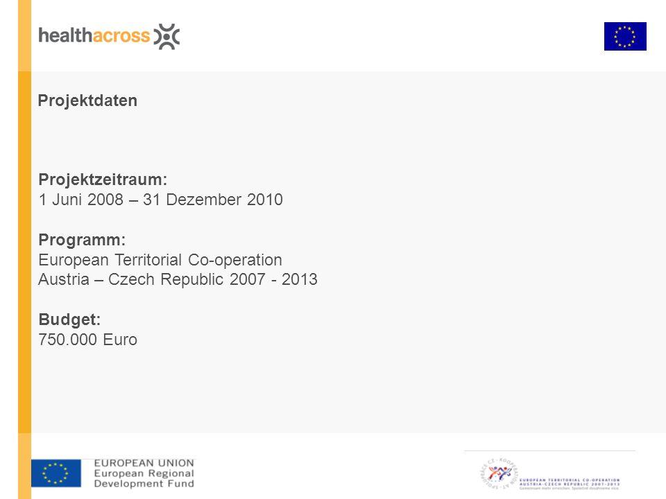 Projektdaten Projektzeitraum: 1 Juni 2008 – 31 Dezember 2010 Programm: European Territorial Co-operation Austria – Czech Republic 2007 - 2013 Budget: