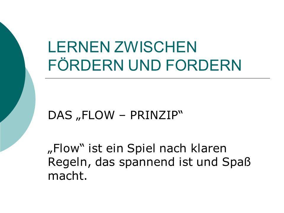 LERNEN ZWISCHEN FÖRDERN UND FORDERN DAS FLOW – PRINZIP Flow ist ein Spiel nach klaren Regeln, das spannend ist und Spaß macht.