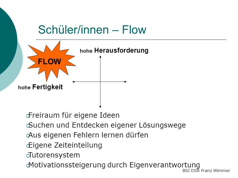 BSI OSR Franz Wimmer Schüler/innen – Flow hohe Herausforderung hohe Fertigkeit FLOW Freiraum für eigene Ideen Suchen und Entdecken eigener Lösungswege