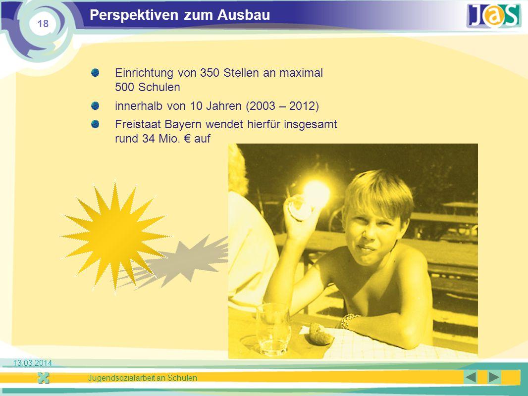 18 Jugendsozialarbeit an Schulen 13.03.2014 Perspektiven zum Ausbau Einrichtung von 350 Stellen an maximal 500 Schulen innerhalb von 10 Jahren (2003 – 2012) Freistaat Bayern wendet hierfür insgesamt rund 34 Mio.