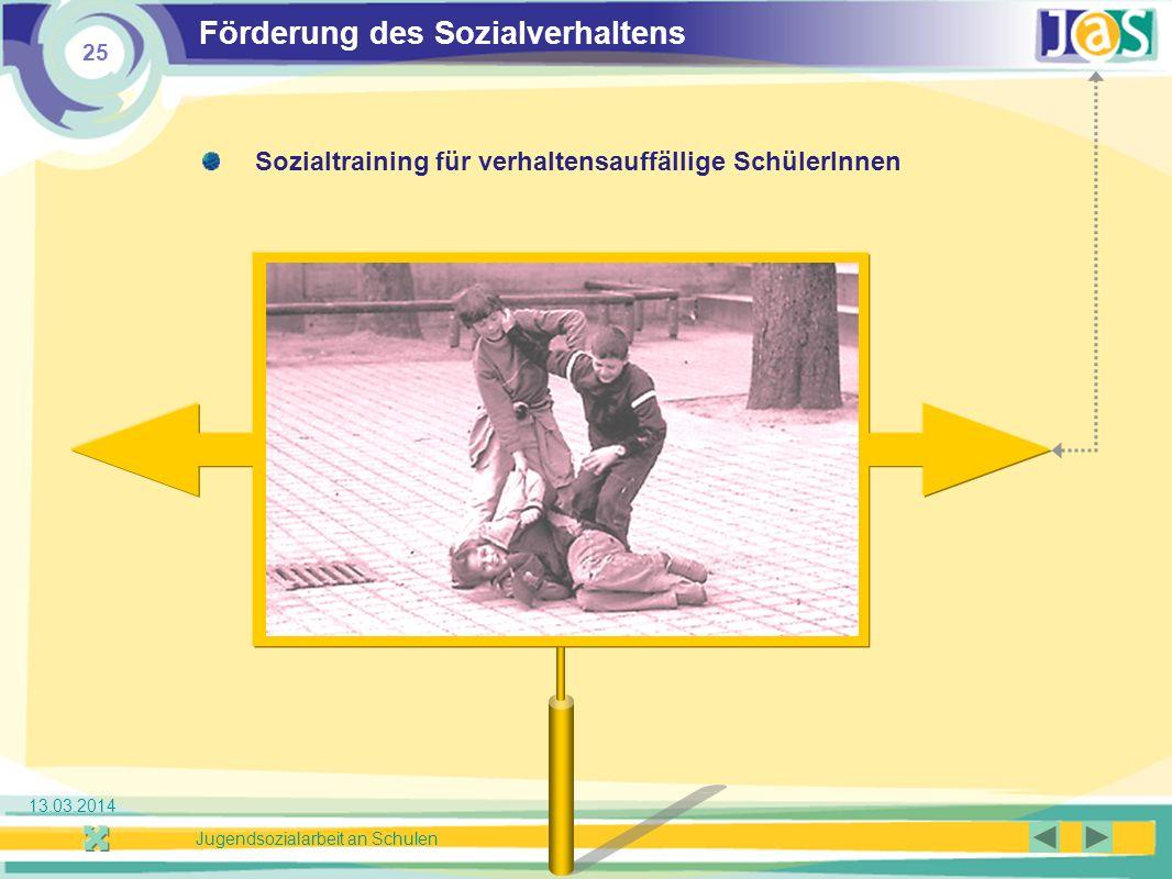 25 Jugendsozialarbeit an Schulen 13.03.2014 Förderung des Sozialverhaltens Sozialtraining für verhaltensauffällige SchülerInnen