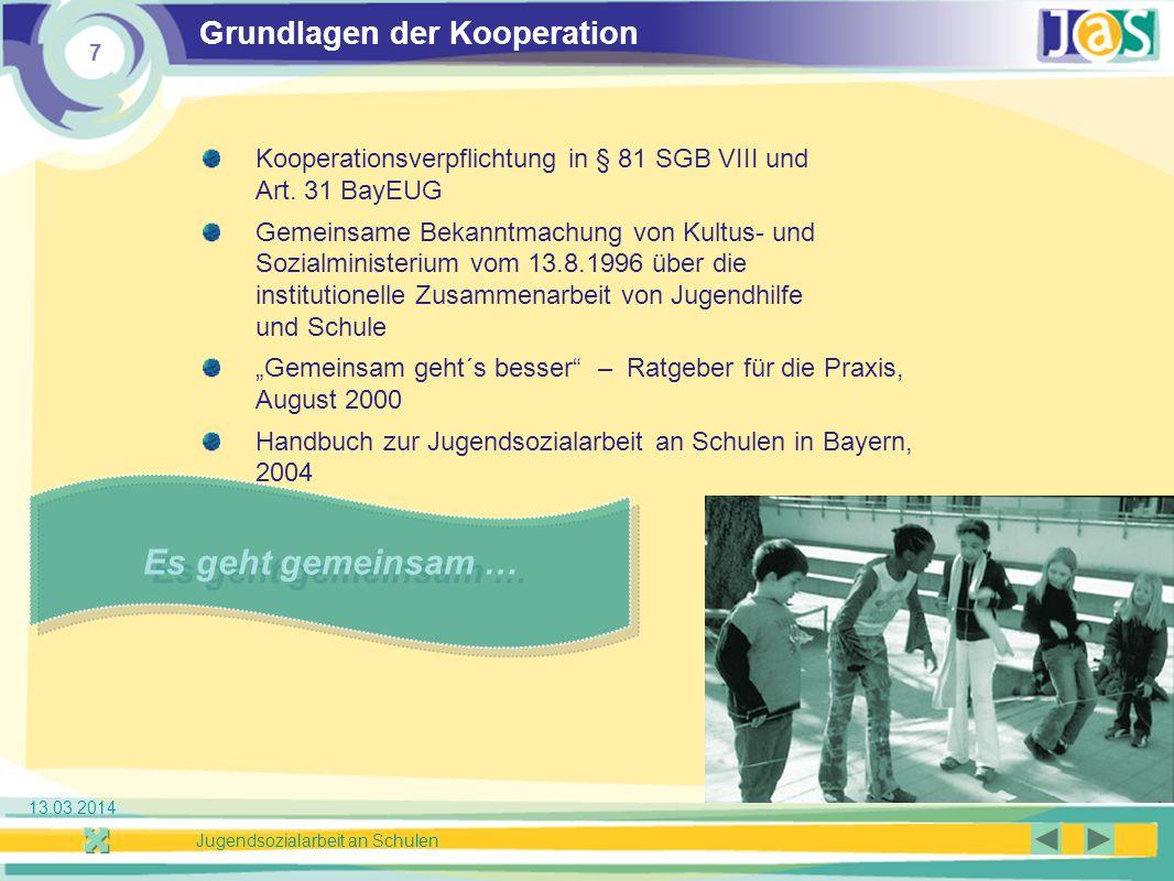 7 Jugendsozialarbeit an Schulen 13.03.2014 Grundlagen der Kooperation Kooperationsverpflichtung in § 81 SGB VIII und Art.