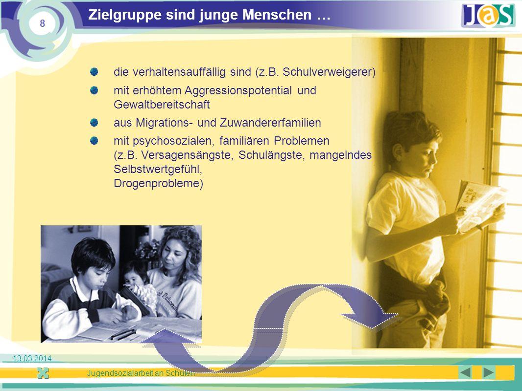 8 Jugendsozialarbeit an Schulen 13.03.2014 Zielgruppe sind junge Menschen … die verhaltensauffällig sind (z.B.