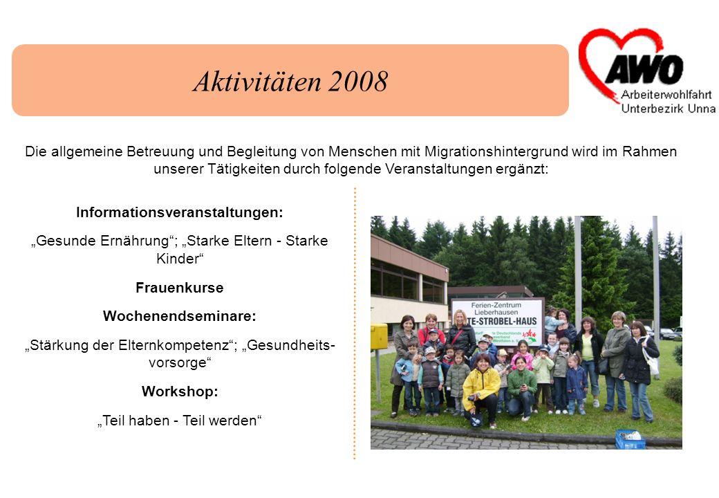 Aktivitäten 2008 Die allgemeine Betreuung und Begleitung von Menschen mit Migrationshintergrund wird im Rahmen unserer Tätigkeiten durch folgende Vera