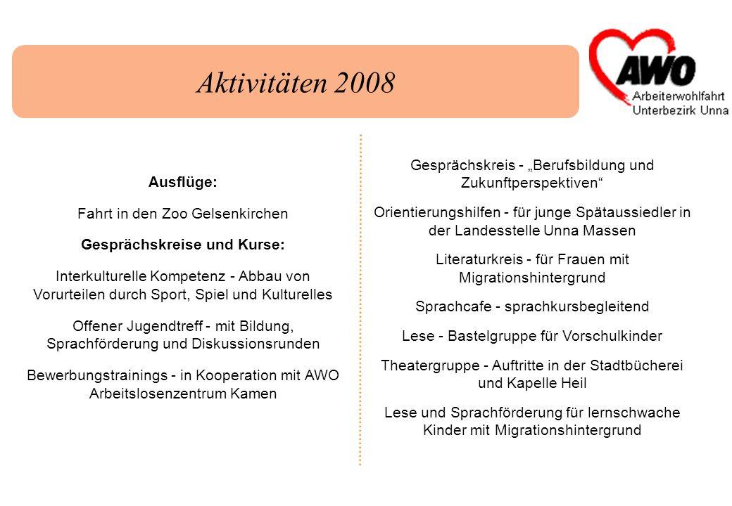 Aktivitäten 2008 Gesprächskreis - Berufsbildung und Zukunftperspektiven Orientierungshilfen - für junge Spätaussiedler in der Landesstelle Unna Massen