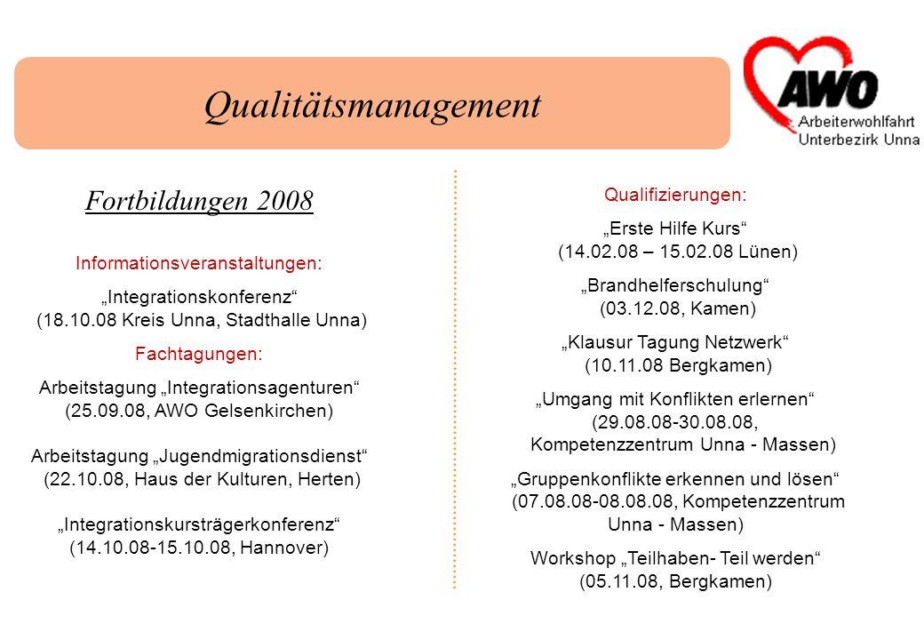 Qualitätsmanagement Fortbildungen 2008 Informationsveranstaltungen: Integrationskonferenz (18.10.08 Kreis Unna, Stadthalle Unna) Fachtagungen: Arbeits