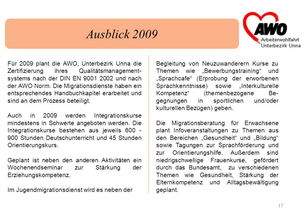 17 Ausblick 2009 Für 2009 plant die AWO, Unterbezirk Unna die Zertifizierung ihres Qualitätsmanagement- systems nach der DIN EN 9001 2002 und nach der