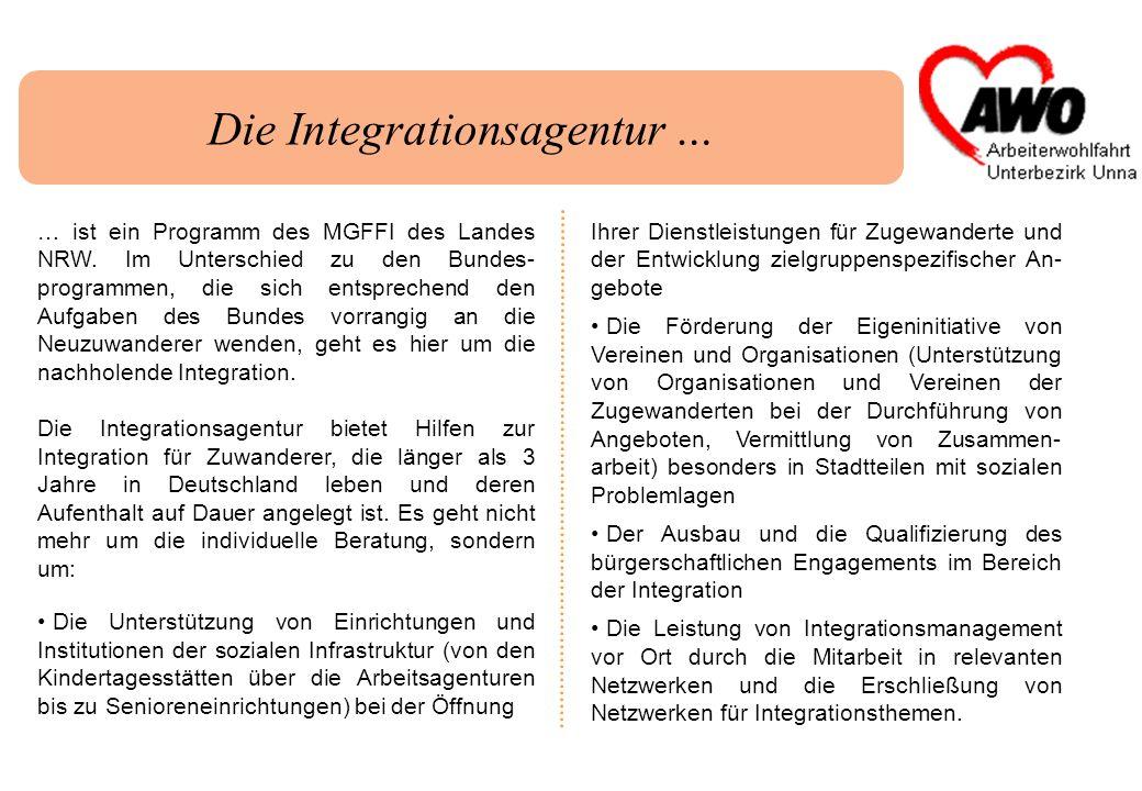 Die Integrationsagentur … … ist ein Programm des MGFFI des Landes NRW. Im Unterschied zu den Bundes- programmen, die sich entsprechend den Aufgaben de