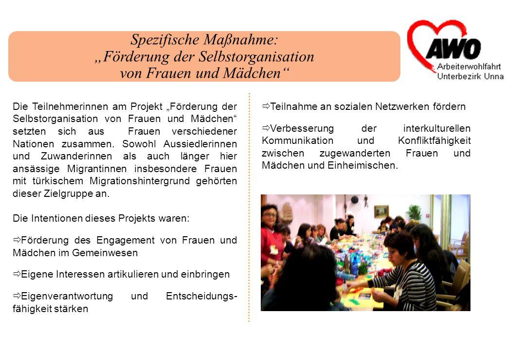 Spezifische Maßnahme: Förderung der Selbstorganisation von Frauen und Mädchen Die Teilnehmerinnen am Projekt Förderung der Selbstorganisation von Frau