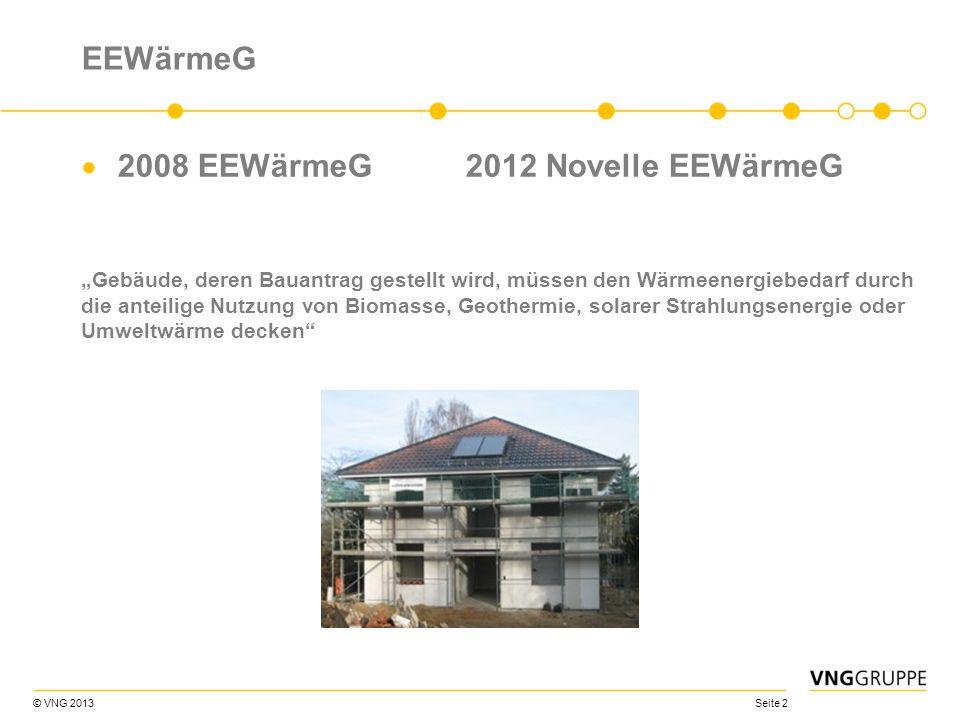 © VNG 2013 Seite 2 EEWärmeG 2008 EEWärmeG2012 Novelle EEWärmeG Gebäude, deren Bauantrag gestellt wird, müssen den Wärmeenergiebedarf durch die anteili