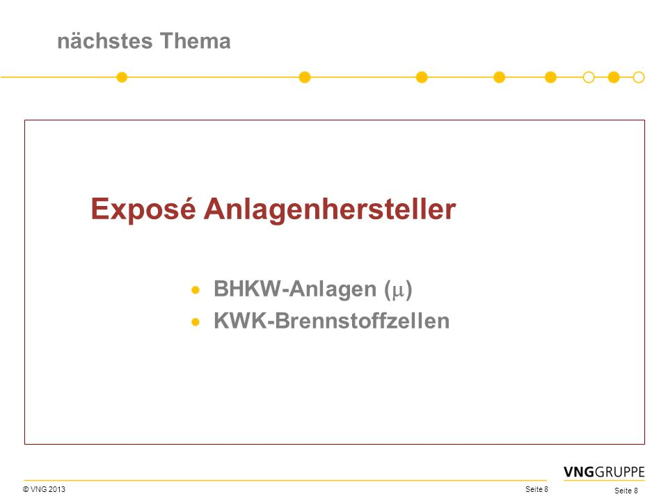 © VNG 2013 Seite 8 nächstes Thema Exposé Anlagenhersteller BHKW-Anlagen ( ) KWK-Brennstoffzellen