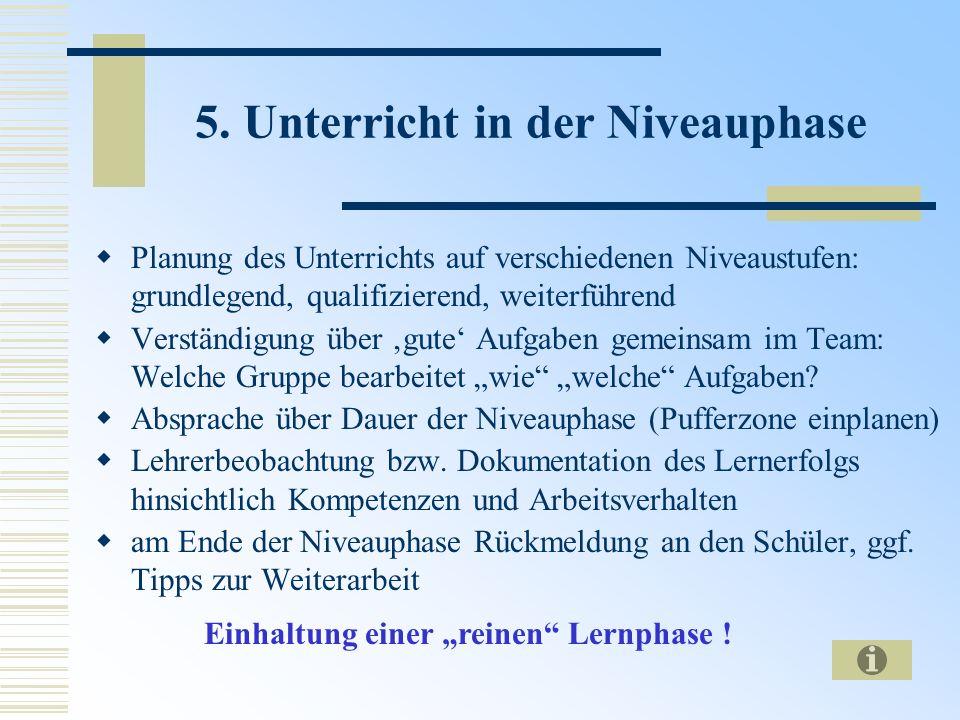 5. Unterricht in der Niveauphase Planung des Unterrichts auf verschiedenen Niveaustufen: grundlegend, qualifizierend, weiterführend Verständigung über