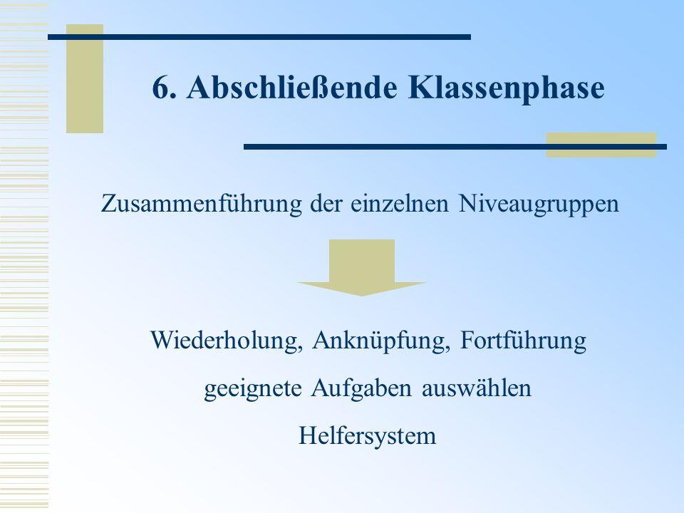 6. Abschließende Klassenphase Zusammenführung der einzelnen Niveaugruppen Wiederholung, Anknüpfung, Fortführung geeignete Aufgaben auswählen Helfersys
