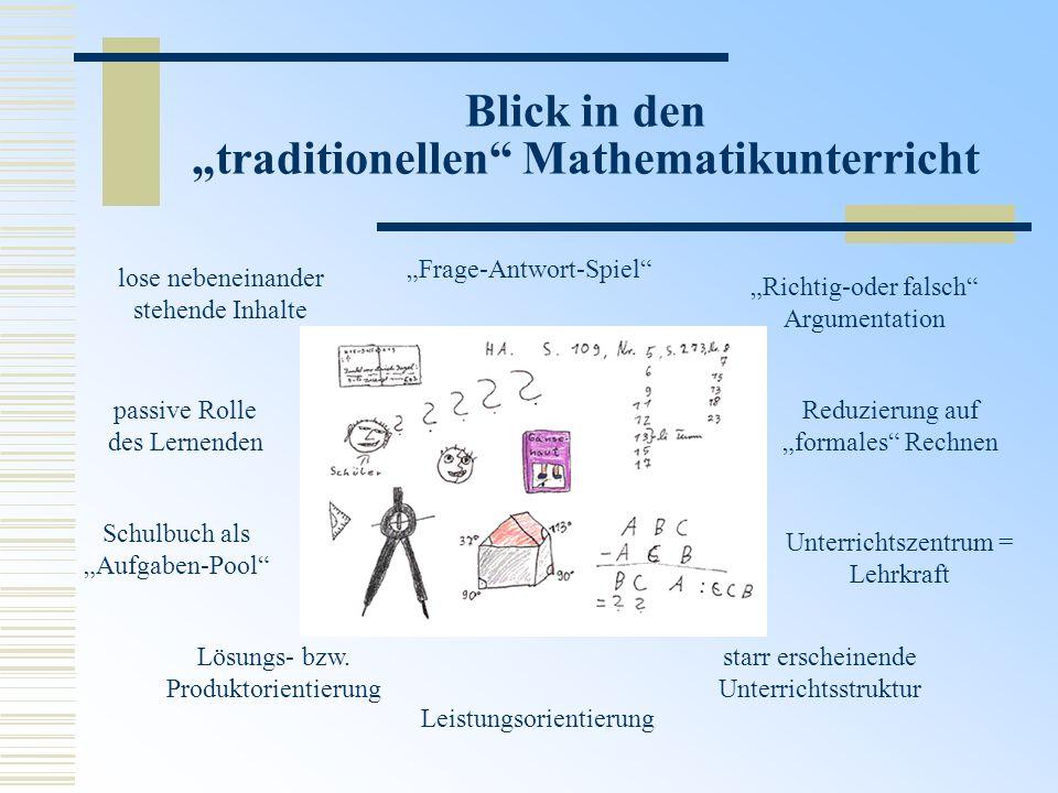 Blick in den traditionellen Mathematikunterricht lose nebeneinander stehende Inhalte Unterrichtszentrum = Lehrkraft Frage-Antwort-Spiel starr erschein