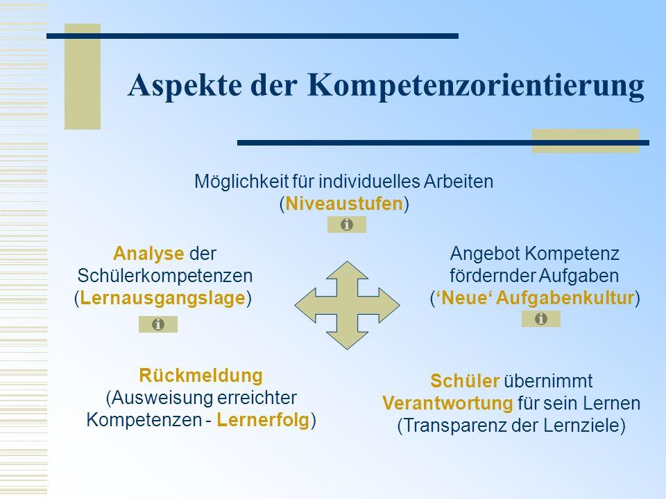 Aspekte der Kompetenzorientierung Möglichkeit für individuelles Arbeiten (Niveaustufen) Analyse der Schülerkompetenzen (Lernausgangslage) Rückmeldung