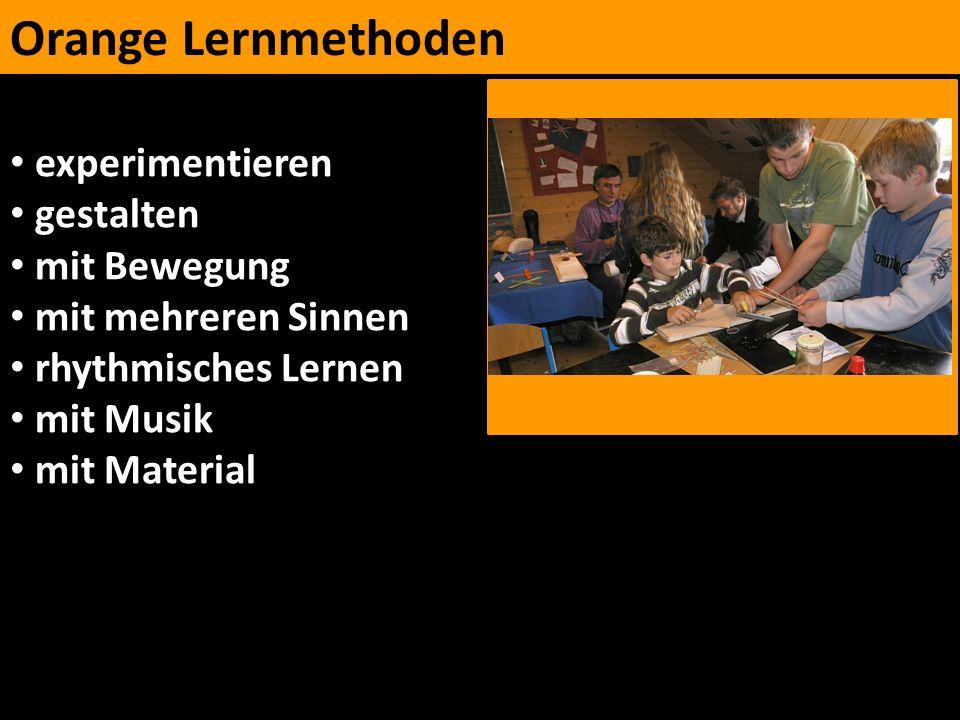 Orange Lernmethoden experimentieren gestalten mit Bewegung mit mehreren Sinnen rhythmisches Lernen mit Musik mit Material