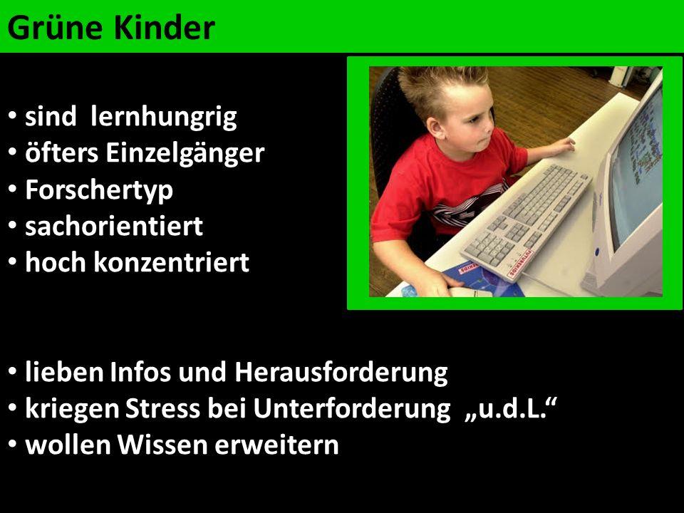 Grüne Kinder sind lernhungrig öfters Einzelgänger Forschertyp sachorientiert hoch konzentriert lieben Infos und Herausforderung kriegen Stress bei Unt