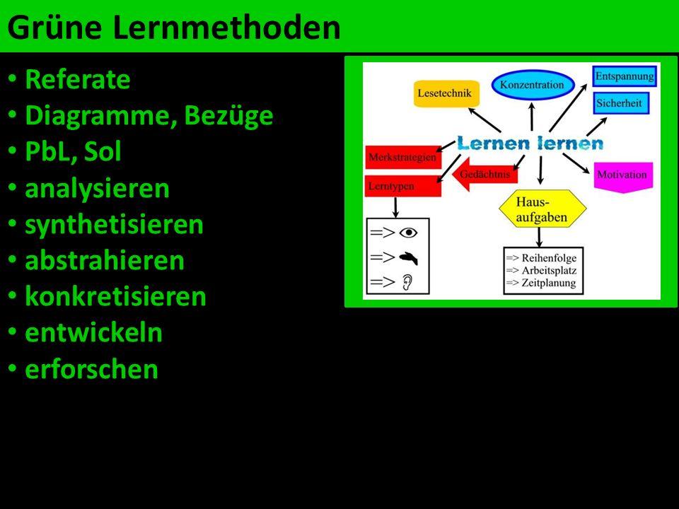 Grüne Lernmethoden Referate Diagramme, Bezüge PbL, Sol analysieren synthetisieren abstrahieren konkretisieren entwickeln erforschen