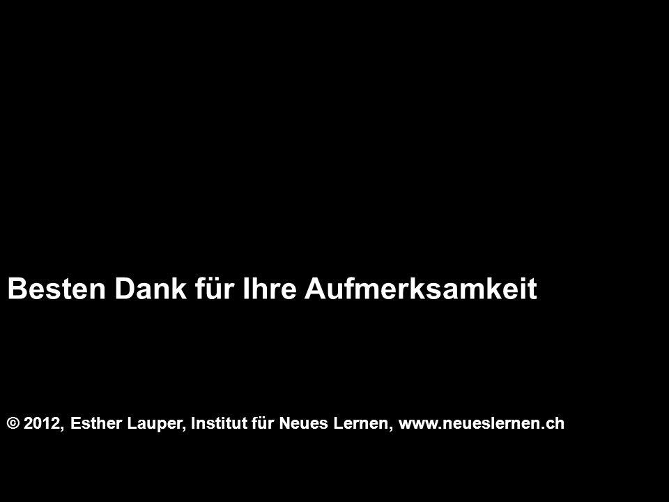 Besten Dank für Ihre Aufmerksamkeit © 2012, Esther Lauper, Institut für Neues Lernen, www.neueslernen.ch
